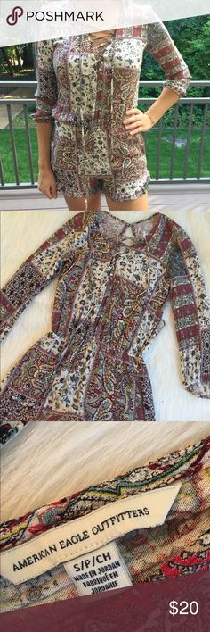 Hipster Festival Romper American Eagle So cute! Great condition, elastic waist Dresses