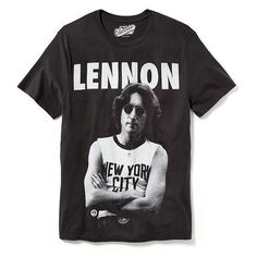Old Navy John Lennon Graphic Tee Men ($15) ❤ liked on Polyvore featuring men's fashion, men's clothing, men's shirts, men's t-shirts, tops, men, shirts, t-shirts, black and mens jerseys