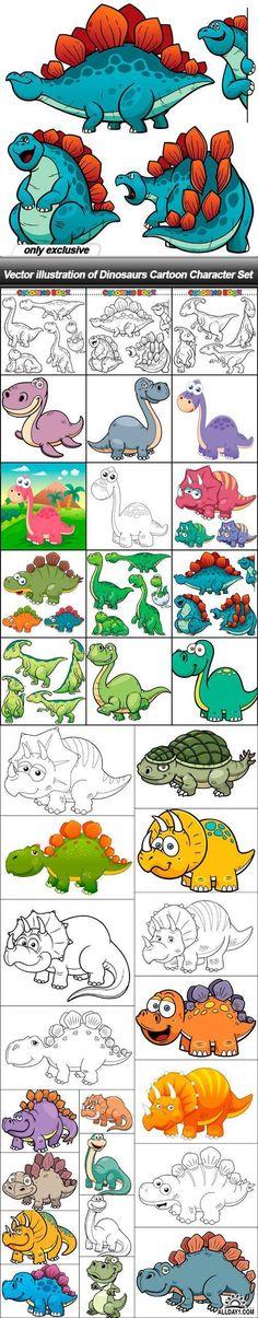 Vector illustration of Dinosaurs Cartoon Character Set - 34 EPS