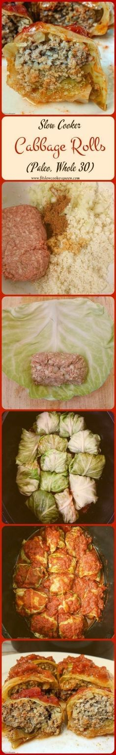 This healthy, low-carb, paleo, and whole 30 compliant slow cooker version of cabbage rolls is easy to make and perfect to serve any night of the week. paleo diet whole 30 Healthy Slow Cooker, Slow Cooker Recipes, Low Carb Recipes, Beef Recipes, Cooking Recipes, Healthy Recipes, Pastry Recipes, Recipies, Italian Recipes