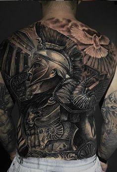 Full Chest Tattoos, Cool Back Tattoos, Full Tattoo, Back Tattoos For Guys, Chest Piece Tattoos, Badass Tattoos, Back Tattoo Men, Men Tattoos, Gladiator Tattoo