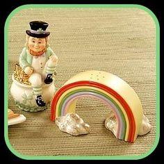 Lenox Leprechaun Luck of the Irish Salt & Pepper Shaker Set Pot of Gold Rainbow Irish Cookies, Salt N Peppa, Pot Of Gold, Salt And Pepper Set, Luck Of The Irish, Novelty Items, Salt Pepper Shakers, Leprechaun, St Patricks Day