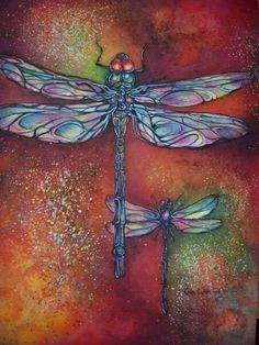 Dragonfly Art, Dragonfly Tattoo, 1 Tattoo, Insect Art, Silk Painting, Art Pictures, Painted Rocks, Watercolor Paintings, Art Drawings