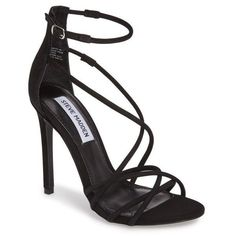 Women's Steve Madden Strappy Sandal ($100) ❤ liked on Polyvore featuring shoes, sandals, black nubuck leather, steve madden shoes, strappy stiletto sandals, evening sandals, strappy stilettos and high heel stilettos