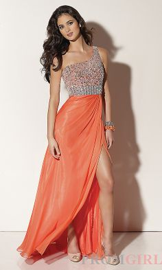 Sequin Bodice, Front Slit, One Shoulder prom dress in mango orange