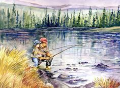 Fly Fishing with Dad in the Mountains, large giclee watercolor painting print