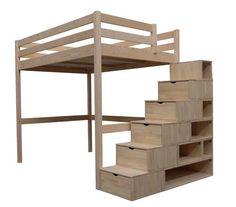 ABC MEUBLES - Letto a soppalco-ABC MEUBLES-Lit Mezzanine Sylvia 140x200 + escalier cube