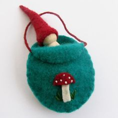 Forest Gnome with Toadstool Bed Waldorf Gnome by SesameSeedDesigns, $10.00