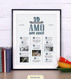 Poster 10 coisas que adoro em você - casamento, aniversário, presente, personalizado, fotos, casal, lembranças, criativo, namoro, poster, namorada criativa