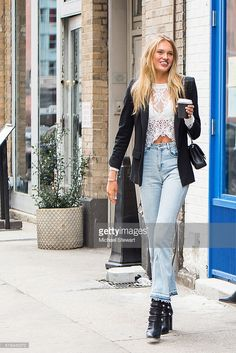 Model Romee Strijd is seen in Tribeca on April 6, 2016 in New York City.