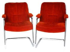 Chromcraft Mid-Century Cantilever Chairs - A Pair on Chairish.com