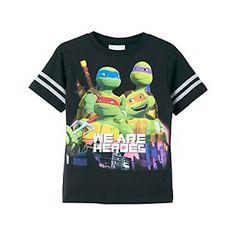 Nickelodeon® Boys' 4-20 Black Short Sleeve Ninja Turtles Heroes Tee