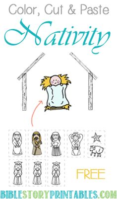 Color, Cut & Paste Nativity.  Build your own Nativity Scene with our free printables: