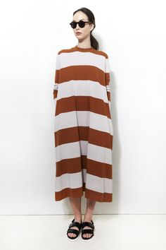 Wide stripes! MR. LARKIN, Molly Dress, Acorn Stripe | www.mrlarkin.net