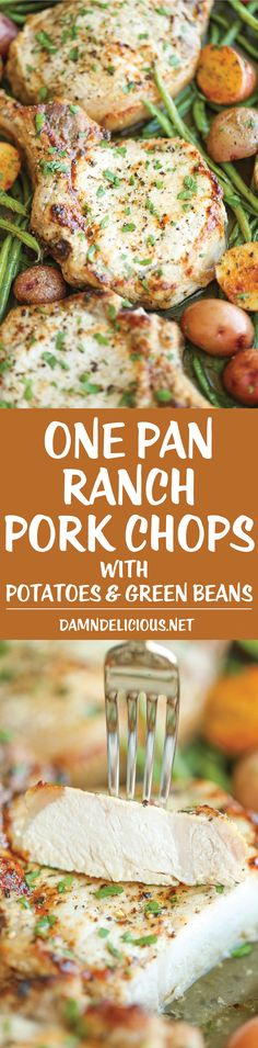 One Pan Ranch Pork Chops and Veggies - The easiest 5-ingredient meal EVER! And yes, you just need one pan with 5 min prep. It's quick, easy and effortless! Meals With Pork Chops, Pan Fried Pork Chops, Pork Chop Meals, Oven Cooked Pork Chops, Paleo Pork Chops, Skillet Pork Chops, Pork Chop Dishes, Pork Chops And Potatoes, Dinner With Pork Chops