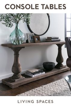 Console tables and sofa tables for your entry, hallway or living room. Console tables and sofa tables for your entry, hallway or living room. Tuscan Decorating, Foyer Decorating, Living Room Furniture, Home Furniture, Living Room Decor, Furniture Movers, Antique Furniture, Paint Furniture, Wooden Furniture