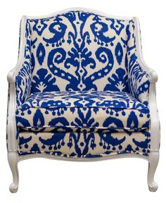 Blue &White Ikat Damask French Provincial Armchair | Chairish