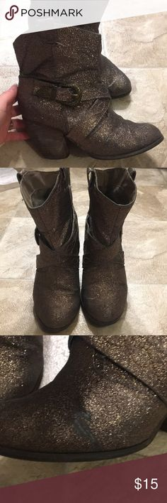 Sparkly taupe cowboy boots Sparkly boots. Noticeable wear as shown in pictures. They have been my go to boots for concerts. Not Rated Shoes Heeled Boots
