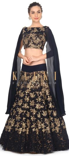 Buy this Navy blue lehenga embellished in thread and sequin work only Kalki