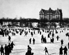 Skaters on the Lake in Central Park, with the Dakota Building in the background: 1890... Hard to believe this is a photo of NYC!