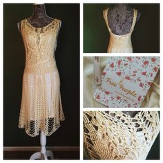 Free People Cream Dress: large & small sizes NWT NEW with tags. SIZE S. Beautiful crochet Work. Off white with a detachable slip underneath. Form fitting but Super comfy! I always want your offers and am flexible! Xoxo Free People Dresses Midi