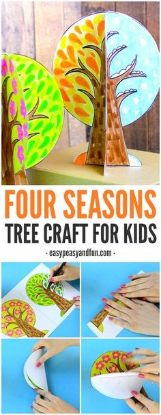Seasons Tree Craft With Template A four season tree craft for kids! This craft is a great way to talk about seasons with children!A four season tree craft for kids! This craft is a great way to talk about seasons with children! Kids Crafts, Crafts For Kids To Make, Tree Crafts, Preschool Crafts, Fall Crafts, Projects For Kids, Art For Kids, Craft Projects, Arts And Crafts