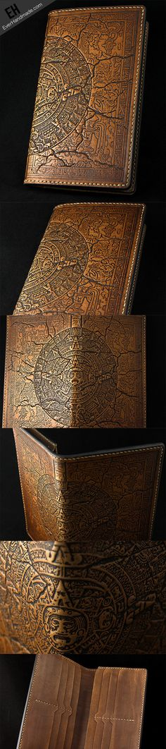 #mayan #maya Handmade leather Carved mayan solar long wallet for men