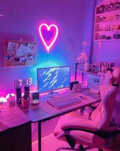 Cute Bedroom Decor, Bedroom Setup, Room Design Bedroom, Room Ideas Bedroom, Gamer Setup, Gaming Room Setup, Pc Setup, Gaming Rooms, Licht Box