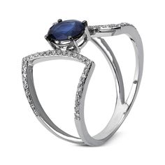 EYE OF THE BEHOLDER White Gold Diamonds and Sapphire Ring  Details  Diamond Ring 14ct White Gold partly black rhodium plated 58 diamonds 0.23 ct, G-si 1 sapphire 0,87 ct blue  #sapphire #diamonds #ring #finejewelry