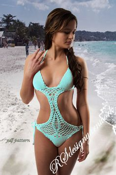 Crochet bikini pattern Monokini Mint bikini by RSdesignyarnwork