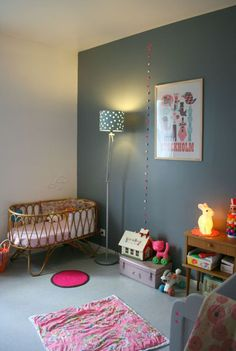 grey wall, pink accents, rabbit lamp