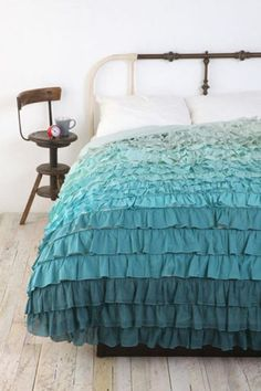 Vintage Bedroom with Ruffles Ombre Bed Linen