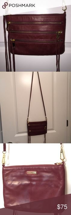 EUC Authentic Rebecca Minkoff ROCKER Crossbody bag EUC Authentic Rebecca Minkoff ROCKER Crossbody bag. Made from distressed burgundy leather with bright gold hardware and floral lining. Comes from a smoke free home, ships within one business day, no trades, thank you! Rebecca Minkoff Bags Crossbody Bags