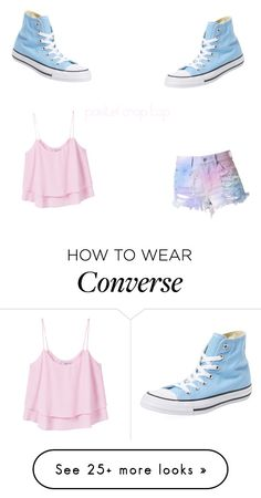 """pastel crop top"" by mjbol on Polyvore featuring MANGO and Converse"