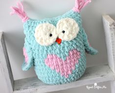 Valentine Heart Crochet Owl - Repeat Crafter Me