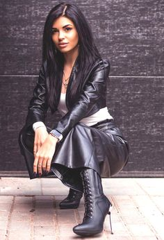 Sexy Outfits, Fall Outfits, Fashion Outfits, Black Leather Skirts, Leather Pants, Fast Fashion, Womens Fashion, Fashion Styles, Black High Boots