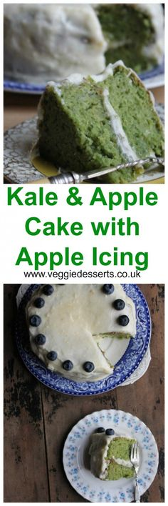 Kale and Apple Cake with Apple Icing | Veggie Desserts Blog by Kate Hackworthy    Kale cake? Yes! Trust, me, you can't even taste the kale, but it gives this cake such a bright green colour and leaves some goodness behind.   This recipe has been made by hundreds of readers who have loved it!  veggiedesserts.co.uk