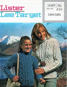 """ladies aran sweater knitting pattern pdf chunky womens aran jumper polo crew or roll neck Vintage 70s 26-36"""" chunky bulky 12ply Download by coutureknitcrochet on Etsy"""
