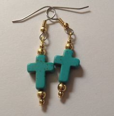 Blue Magnesite Cross Earrings by UniqueDesignsByKait on Etsy, $7.00