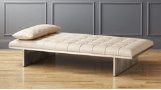 Atrium Tufted Nude Leather Daybed | CB2