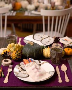 Set up a cute and festive table for the little ones with our editors' tips and picks. Hint: Use a stamp and fabric paint to decorate plain canvas goodie bagsit's a fun and easy craft you can do with the kids ahead of time. #thanksgiving #homedecor by wayfair