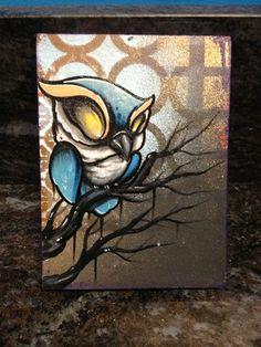 Owl Original Canvas Painting Tattoo Art Graffiti Art Outsider Art Folk Art 332 | eBay Graffiti Art, Graffiti Cartoons, Graffiti Lettering, Tattoo Graffiti, Street Art, Painting Tattoo, Tattoo Art, Artist Journal, Owl Art