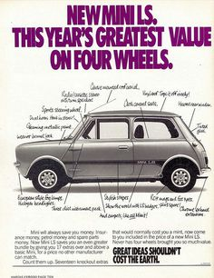 How to identify a 1977 - 1978 Leyland Mini 998 LS Mini Clubman, Vintage Advertisements, Vintage Ads, Classic Mini, Classic Cars, Micro Rc, Mini Morris, Austin Cars, Minis