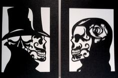 Sugar Skull Day of the Dead Layered Papercut Artwork - Unframed 5x7 - Black and White Home Decor