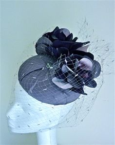 Vivienne Morgan Millinery - pillbox with purple silk flowers and vintage grey millinery face veiling