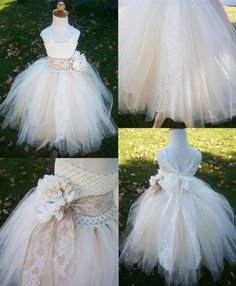 Lace and Tulle Flower Girl Tutu Dress with Straps -  Rustic Elegant Champagne and Ivory Tulle with Burlap Ribbon