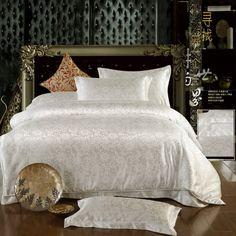 Summer Romance White Jacquard Damask Luxury Bedding