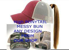 f11b952ce4cd16 Ponytail Distressed Trucker Messy Bun Hat Custom Women Monogram Personalized  Best Friend Gift Summer Vacation Lake Hair Como Distressed