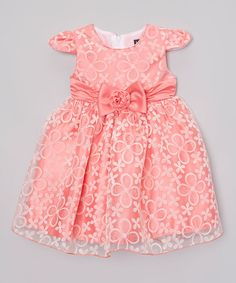 Look what I found on #zulily! Peach Floral Bow Angel-Sleeve Dress - Infant & Toddler #zulilyfinds
