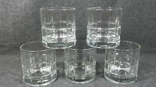 Anchor Hocking Tartan Clear Old Fashioned Rock Tumblers 5 Glasses Plaid